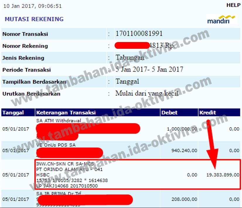 Bukti transfer bonus bulan Oktober 2016